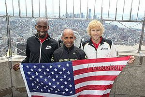 Abdi Abdirahman, Meb Keflezighi, Ryan Hall Atop the Empire State Building