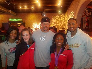 Porsche Lucas, Molly Huddle, Wallace Spearmon, Lauryn Williams and Duane Solomon