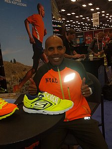 Meb Keflezighi with the Go Meb Shoe at the Skechers Booth