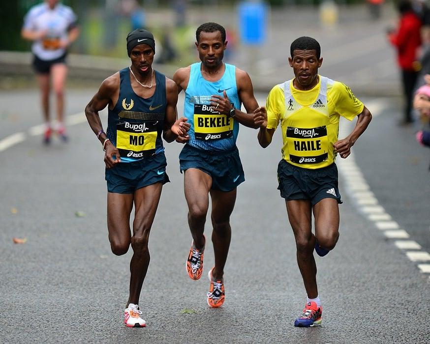 Mo Farah, Kenenisa Bekele and Haile Gebrselassie at the 2013 Great North Run
