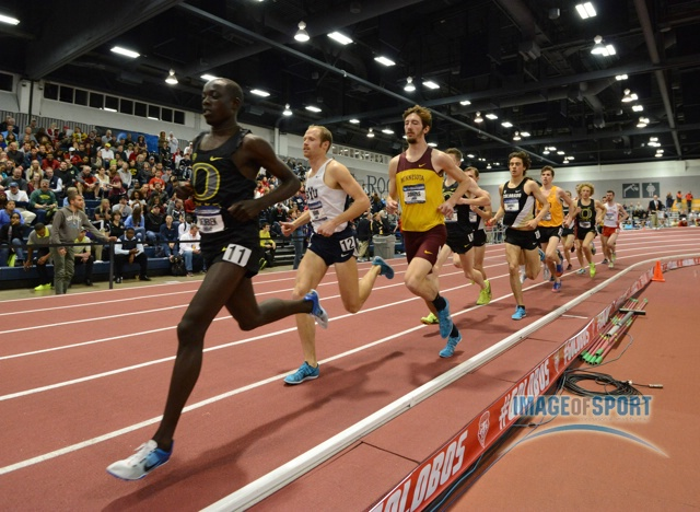 Mar 15, 2014; Albuquerque, NM, USA; Edward Cheserek of Oregon wins the 3,000m in 8:11.59 in the 2014 NCAA Indoor Championships at Albuquerque Convention Center.