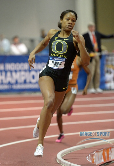 Mar 15, 2014; Albuquerque, NM, USA; Phyllis Francis of Oregon wins the womens 400m in a collegiate record 50.46 in the 2014 NCAA Indoor Championships at Albuquerque Convention Center.