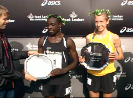 Edward Cheserek & Anna Roher Receive Their Winner's Plaques From Ryan Hall