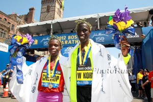 Sharon Cherop and Wesley Korir happy in Boston in 2012 *2012 Boston Marahton Photo Gallery *2nd Photo Gallery