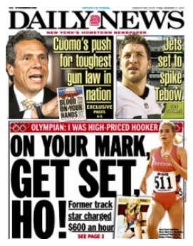 Usain Bolt doesn't even get the cover of the NY Daily News