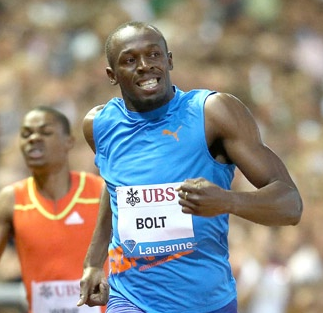 Usain Bolt sporting his singlet in Lausanne last year
