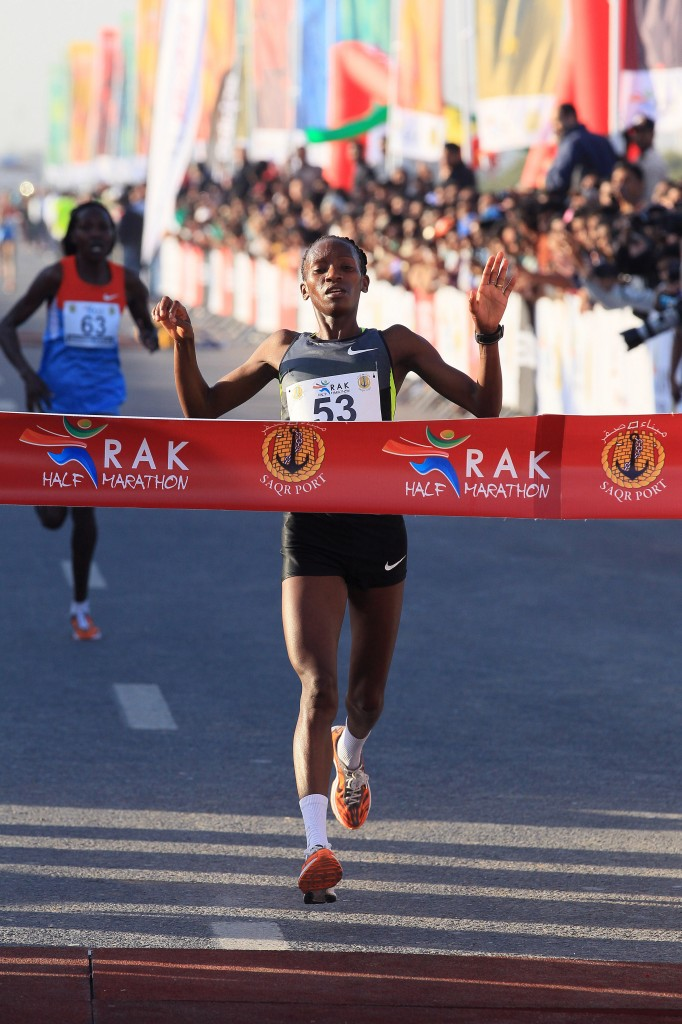 Lucy Kabuu wins the 2013 RAK Half  (photo by Victor Sailer, courtesy of RAK Half-Marathon; used with permission)