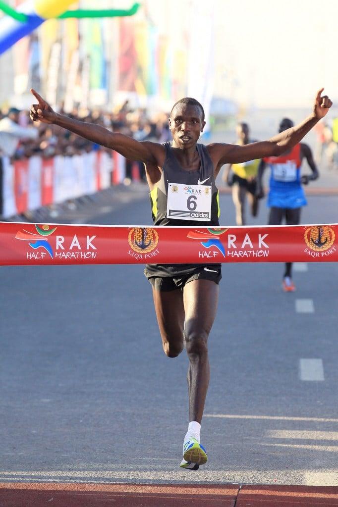 Geoffrey Kipsang wins the 2013 RAK Half  (photo by Victor Sailer, courtesy of RAK Half-Marathon; used with permission)