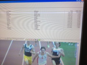 Nick Wade at the end of his 3:59.998 mile.