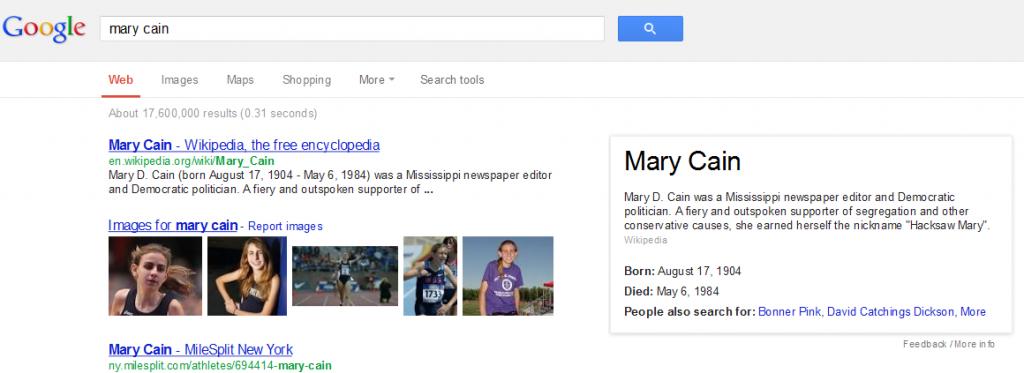 Google says Mary Cain is dead.