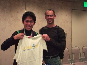 picture of Yuki Kawauchi with LetsRun.com t shirt