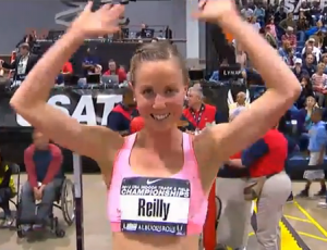 A happy Chelsea Reilly after winning the 2013 USA Indoor Track and Field Championship 3000