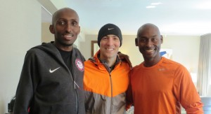 Abdi Abdirahman, Dathan Ritzenhein and Bernard Lagat share a light moment before the 2013 NYC Half (photo by Chris Lotsbom for Race Results Weekly).