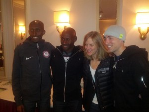 Abdi Abdirahman, Bernard Lagat, NYRR CEO Mary Wittenberg, and Dathan Ritzenhein (LRC Photo)