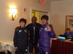 Kenta Murayam and Kento Otso with Bernard Lagat