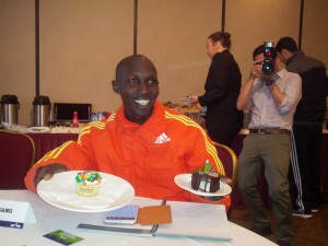Wilson Kipsang prior the NYC Half earlier this year enjoying a birthday celebration