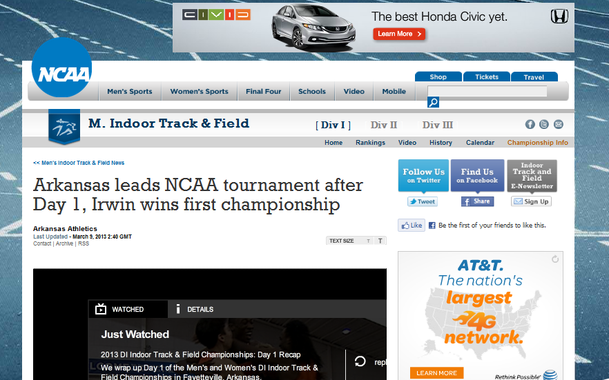 "The NCAA apparently thinks track and field is a ""tournament."""