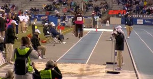 Brittney Reese in the middle of her clutch 6th jump