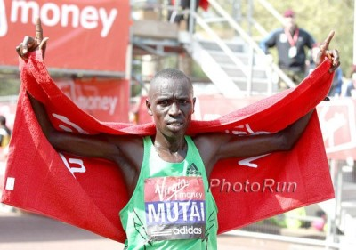 Emmanuel Mutai after winning London in 2011 *More 2011 London Marathon Photos