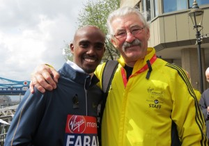 Double Olympic champion Mo Farah with former Virgin London Marathon race director Dave Bedford (photo by Jane Monti for Race Results Weekly)