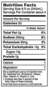 Nutritional label foe Gatorade Endurance