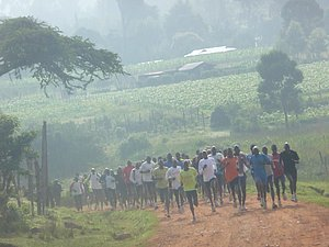 Hundreds of runners starting a Thursday fartlek in Kenya in 2011. *Extensive Kenya Fartlek Run Coverage Here