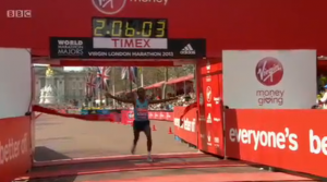 Tsegaye Kebede wins 2012 Virgin London Marathon