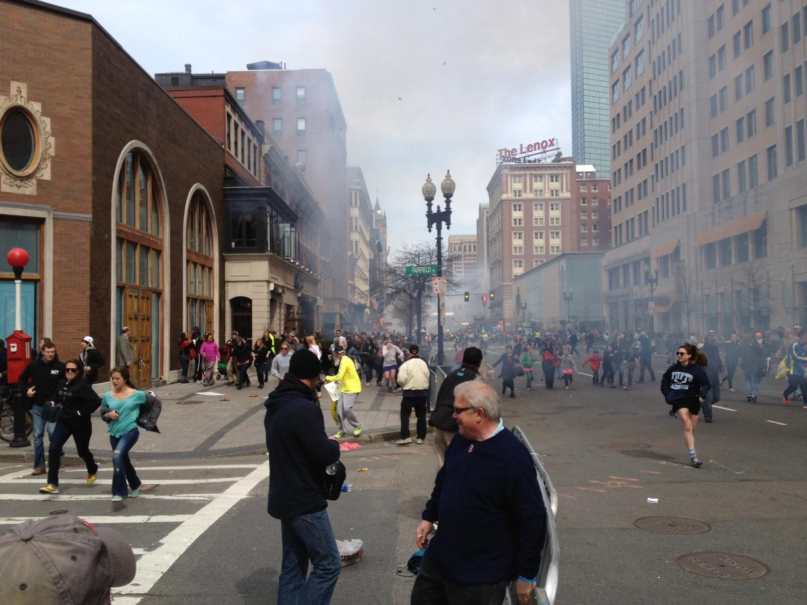 Update #2: The NY Times has a story here on this photo  and the man who took it (David Green). Picture of suspected 2012 Boston Marathon terrorist after blast without backpack. For more on this photo, please see here: https://www.letsrun.com/forum/flat_read.php?thread=5140936 This photo was NOT taken by LetsRun.com.  The original link posted by a regular LetsRun.com visitor can be found here (NSFW) on  a site with pornographic ads. People complained about the porn ads so we have uploaded the photo here.The LetsRun.com audience is discussing this photo here
