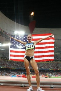 Shalane Flanagan after getting a bronze medal and 30:22 American record at the 2008 Bejing Olympics