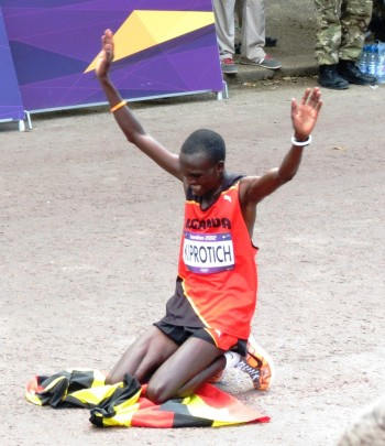 Stephen Kiprotich after winning Olympic gold in 2012