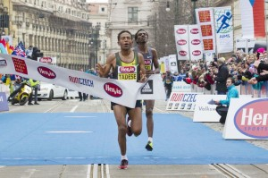 Zersenay Tadese of Eritrea edges compatriot Amanuel Mesel to win the 2013 Hervis Prague Half-Marathon in 1:00:10.  (photo courtesy of race)