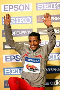 Zersenay Tadese after winning World Half Marathon in 2009 *More 2009 World Half-Marathon Photos
