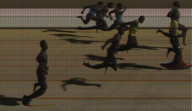 2013 Cayman Invitational Men's 100m Photo Finish