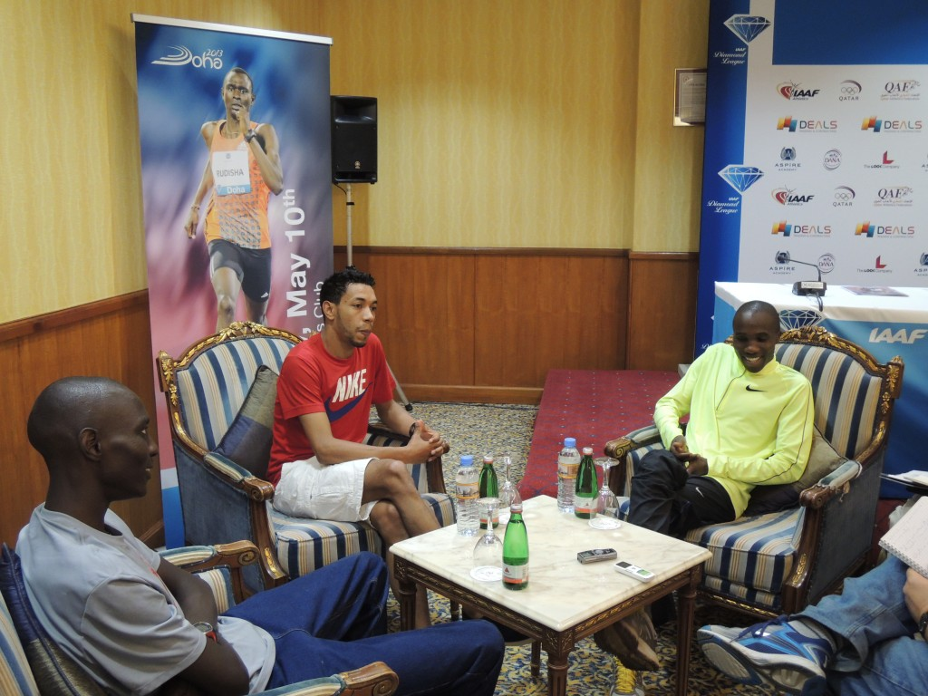 Asbel Kiprop (l), Abdalaati Iguider (c) and Silas Kiplagat (r) prior to the 2013 Doha meeting