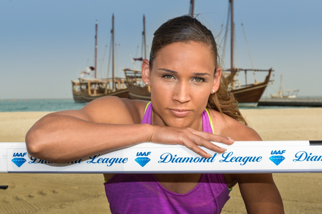 Lolo Jones prior to the 2013 Diamond League meet in Doha