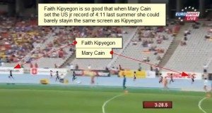 Mary Cain en route to the US jr record and yet she barely is in the same picture as Faith Kipyegon