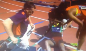 Genzebe Dibaba down after a hamstring injury at the London Olympics