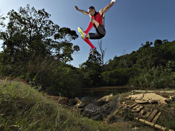 Godfrey Mokoena jumps over crocodiles as part of Red Bull stunt