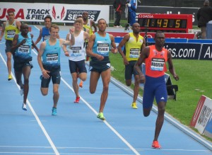 David Rudisha (right) just before crossing the finish line at the 2013 adidas Grand Prix. Seconds later, Erik Sowinski (4th from left) would fall and finish last (Photo by Jane Monti for Race Results Weekly)