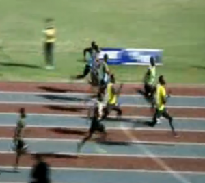Usain Bolt (in green on right) is clearly behind just meters from the finish