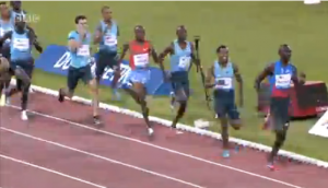 A rare site. 8 guys within site of David Rudisha in the final 100.