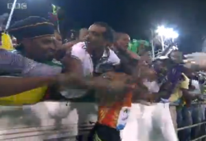 The Ethiopian fans were pumped as well and swarmed Hagos