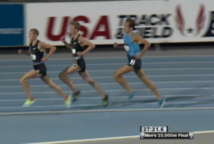 Dathan Ritzenhein Leads With 550m  to Go Men's 10,000m