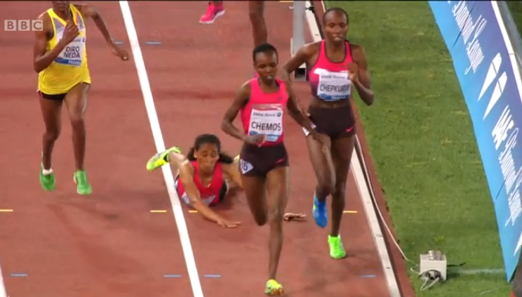Sofia Assefa goes down just before the bell