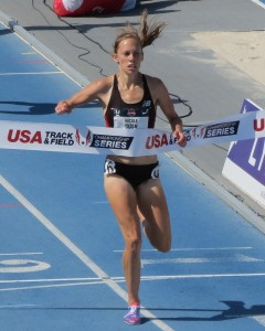 Nicole Bush winning the 2013 USA Outdoor Championships steeplechase title at Drake University in Des Moines (photo by David Monti for Race Results Weekly)