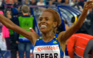 Meseret Defar was very happy when this one was over