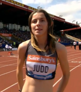 18-year old Jessia Judd just before she breaks 2:00 at the 2013 Sainsbury's Grand Prix.