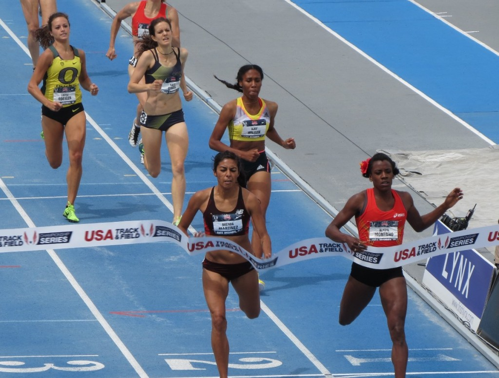 Alysia Montano (right) wins her fifth USA 800m title over Brenda Martinez at the 2013 USA Outdoor Track & Field Championships in Des Moines (photo by David Monti for Race Results Weekly)