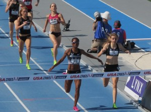 2013: Treniere Moser wins her fourth USA 1500m title, narrowly defeating Mary Cain (photo by David Monti for Race Results Weekly)
