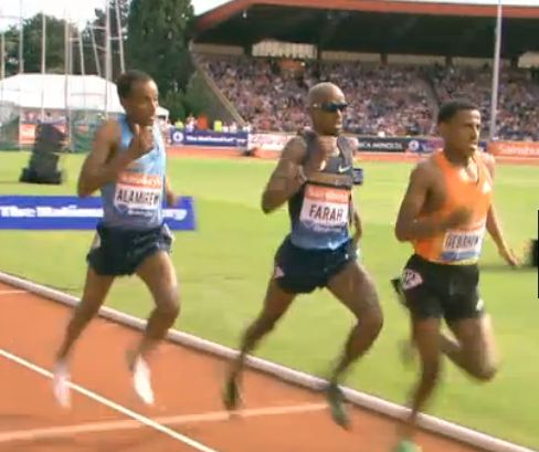 Gebrhiwet, Farah and Alamirew on the back stretch. This one wasn't easy for Mo.